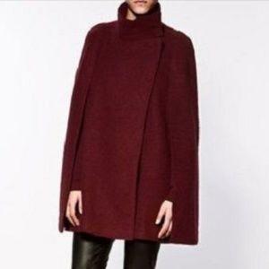 Zara knitwear Burgundy Wool Poncho Cape
